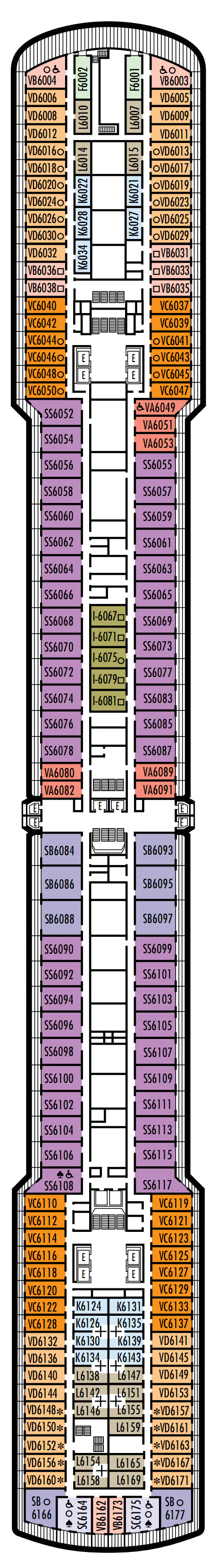 Westerdam Deck 6 - Upper Verandah Deck   layout