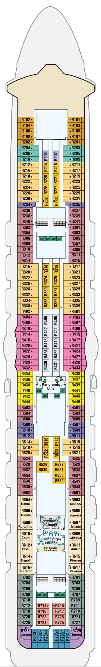 Royal Princess Deck 14 - Riviera layout