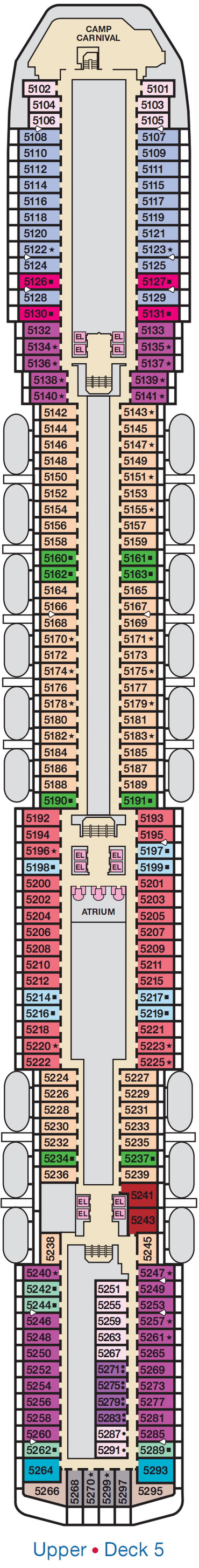 Carnival Spirit Upper Deck 5 layout
