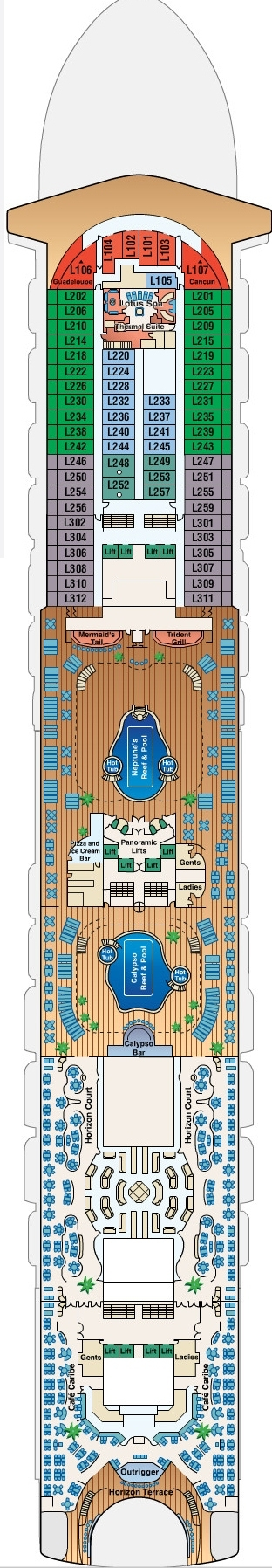 Ruby Princess Lido Deck 15 layout