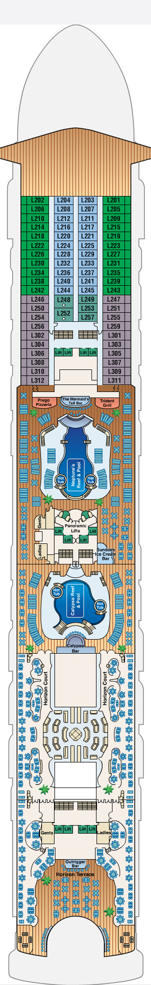Golden Princess Lido Deck 14 layout
