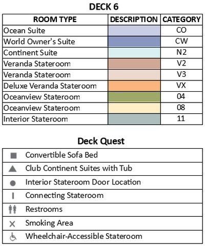 Azamara Pursuit Deck 6 plan keys