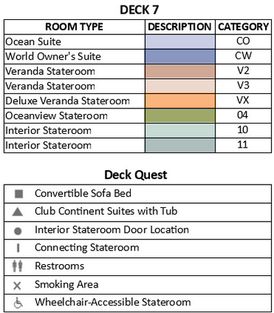 Azamara Pursuit Deck 7 plan keys