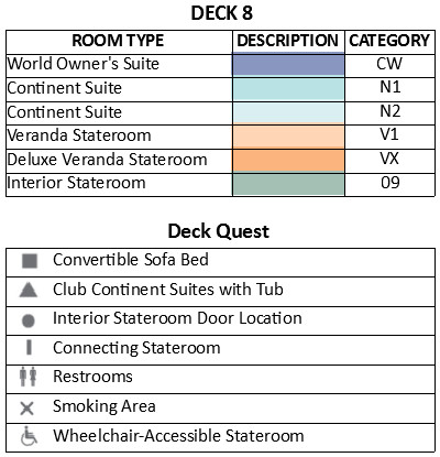 Azamara Pursuit Deck 8 plan keys