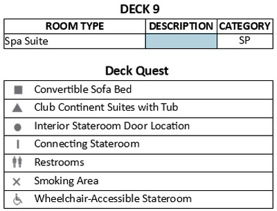 Azamara Pursuit Deck 9 plan keys