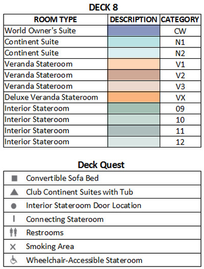 Azamara Quest Deck 8 plan keys