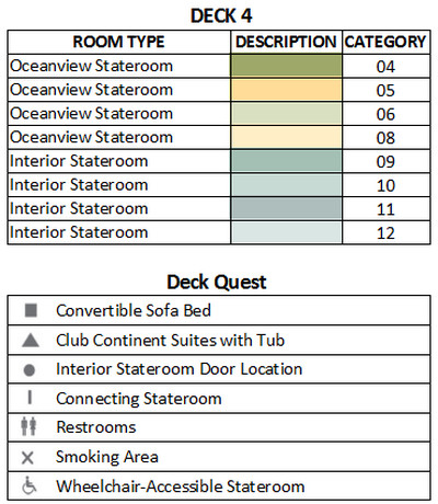 Azamara Quest Deck 4 plan keys