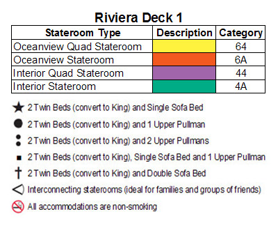 Carnival Spirit Riviera Deck 1 plan keys