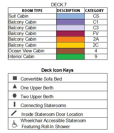 Celebrity Constellation Vista Deck plan keys