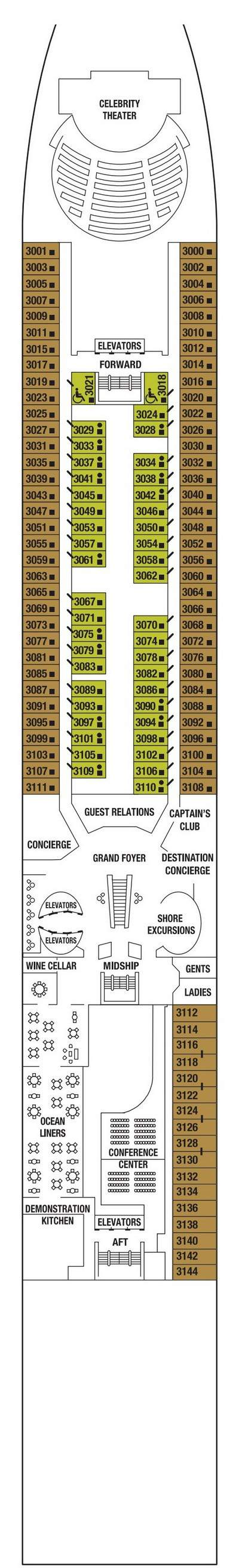 Celebrity Constellation Plaza Deck  layout