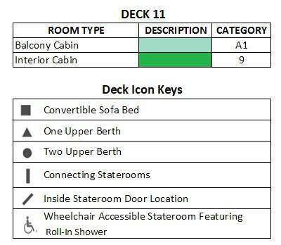 Celebrity Infinity Sunrise Deck plan keys