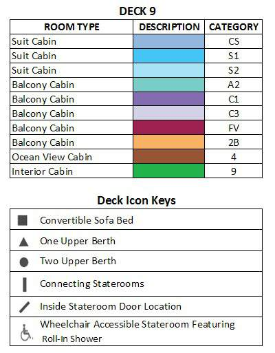 Celebrity Infinity Sky Deck plan keys