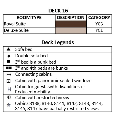 MSC Fantasia Deck 16 - Aurora plan keys