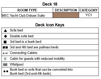 MSC Bellissima Deck 18 - Seaside plan keys