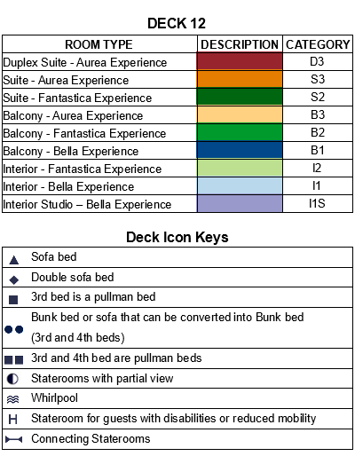 MSC Grandiosa Deck 12 - Splendida plan keys