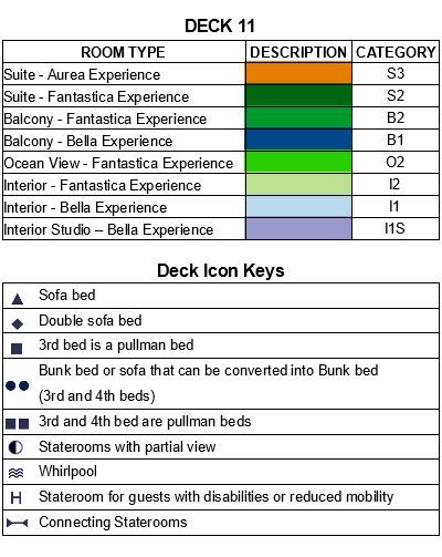 MSC Grandiosa Deck 11 - Fantasia plan keys