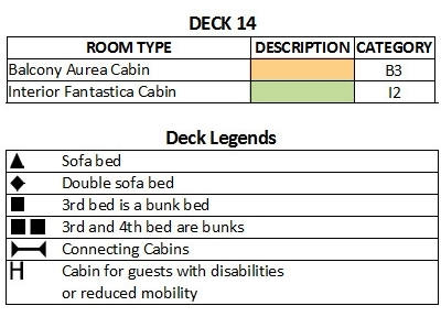 MSC Musica Deck 14 - Capriccio plan keys
