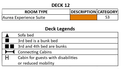 MSC Sinfonia Bizet Deck 12 plan keys