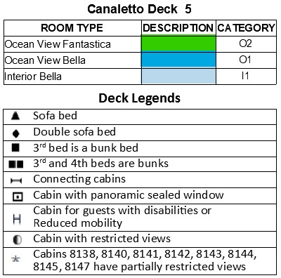 MSC Splendida Deck 5 - Canaletto plan keys