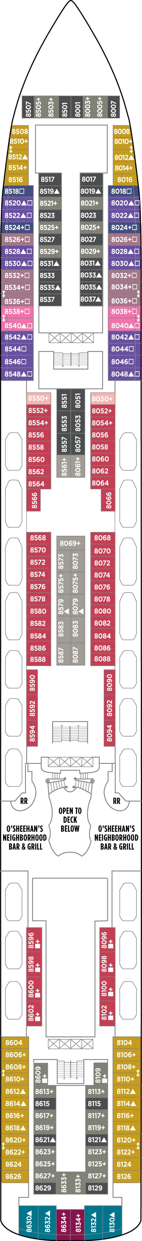 Norwegian Gem Deck 8 layout