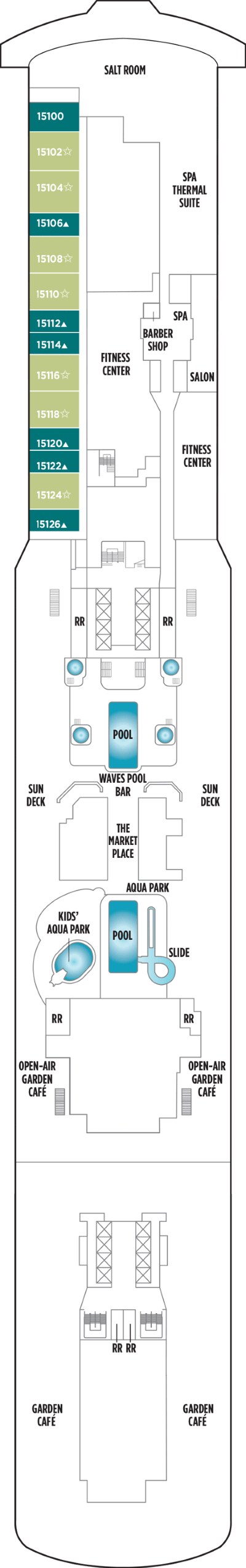 Norwegian Getaway Deck 15 layout
