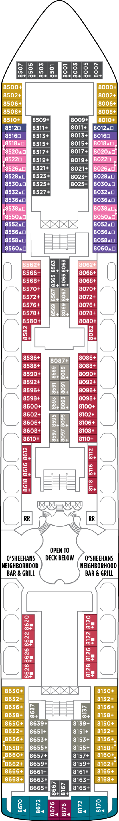Norwegian Star Deck 8 layout