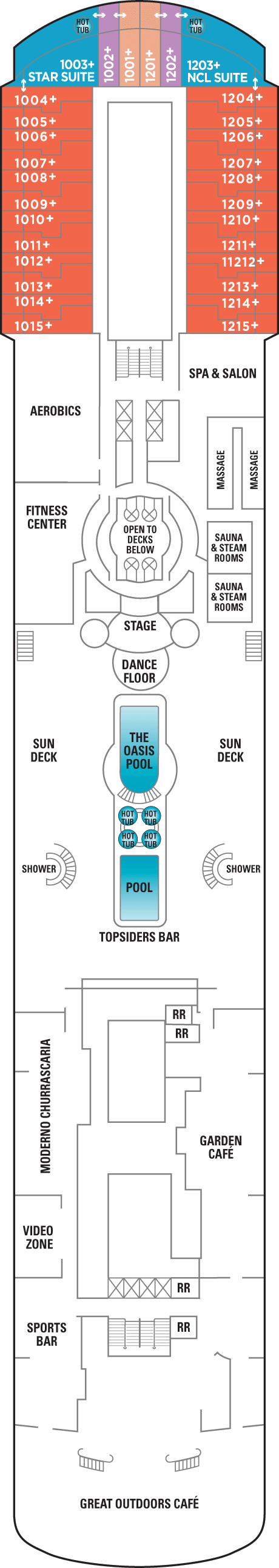 Norwegian Sun Pool Deck layout