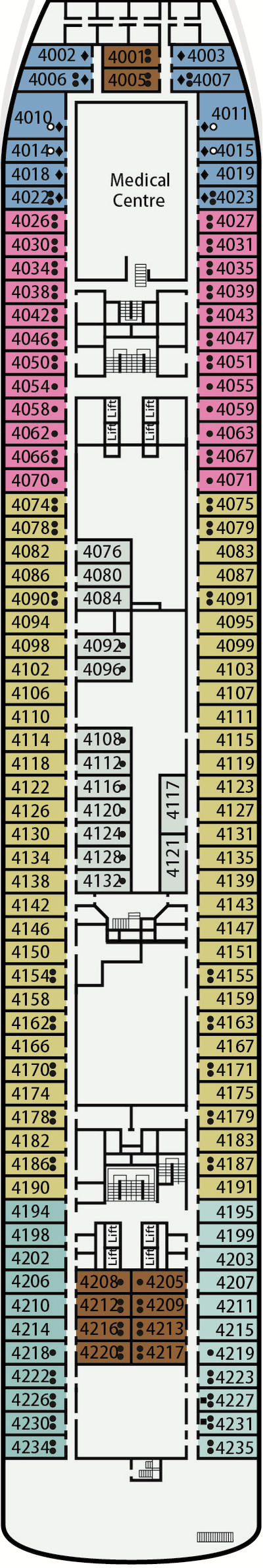 P&O - Pacific Aria Deck 4 layout