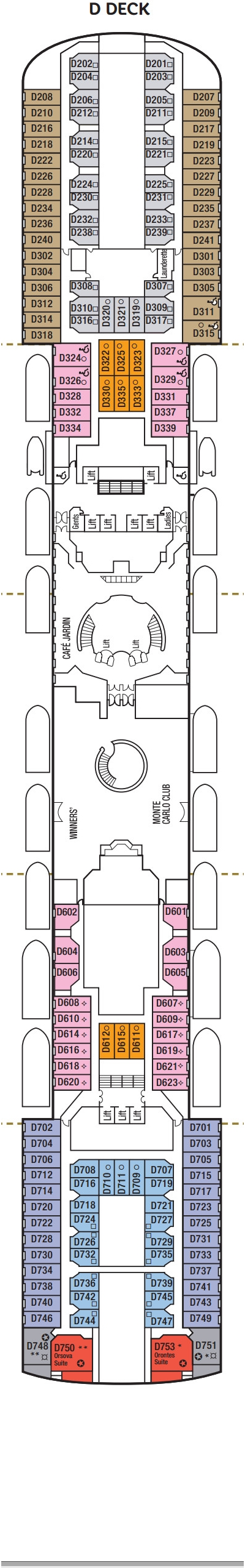 Oceana D Deck layout