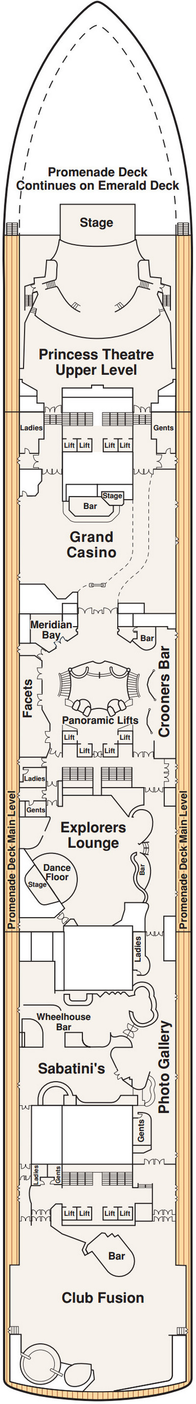Caribbean Princess Promenade Deck 7 layout