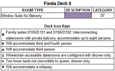 Caribbean Princess Fiesta Deck 6 plan keys