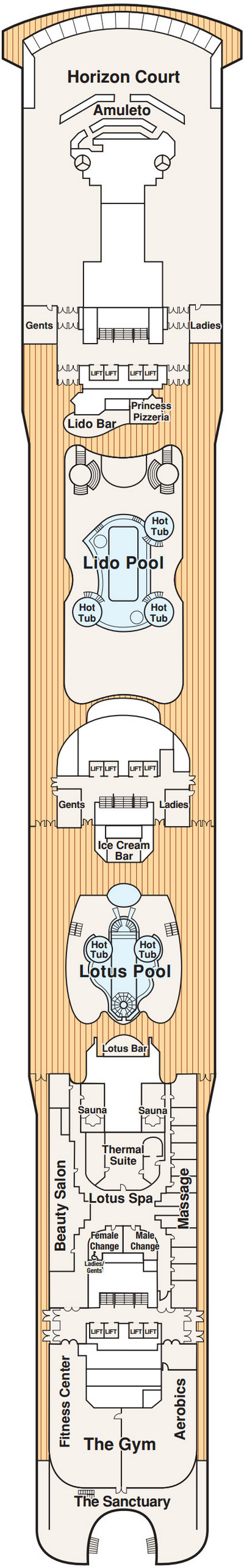 Coral Princess Lido Deck 14 layout