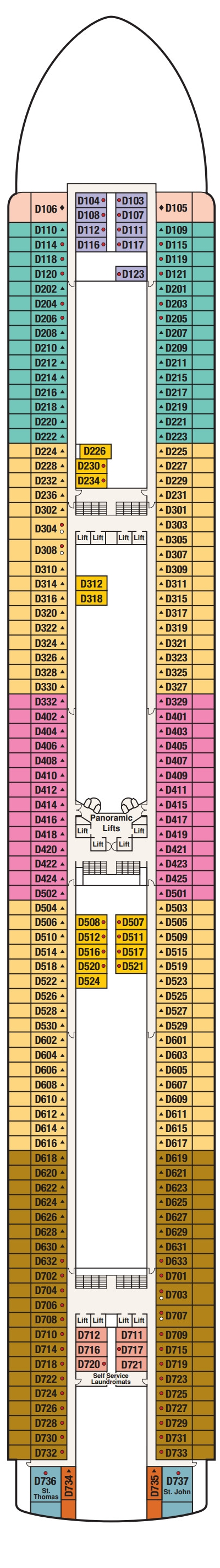 Crown Princess Dolphin Deck 9 layout