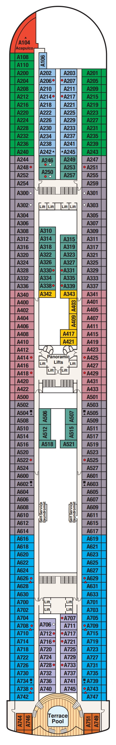 Diamond Princess Aloha Deck 12 layout
