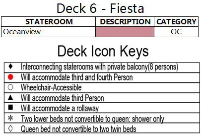 Diamond Princess Fiesta Deck 6 plan keys