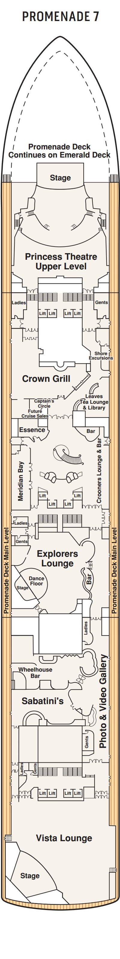 Grand Princess Promenade Deck 7 layout