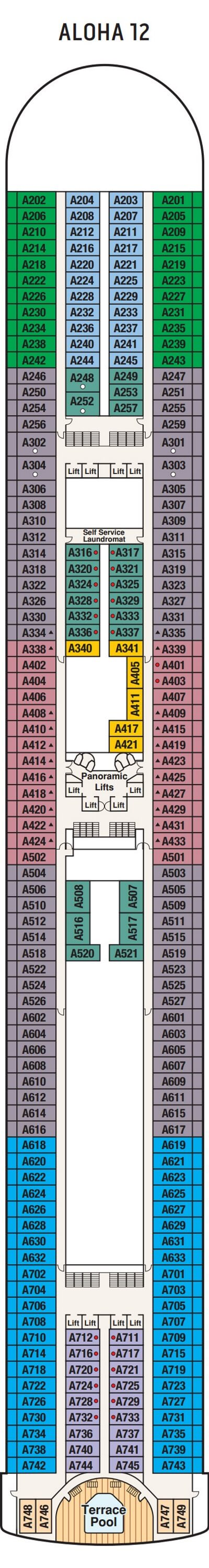 Grand Princess Aloha Deck 12 layout