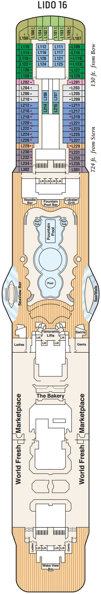 Majestic Princess Deck 16 - Lido layout