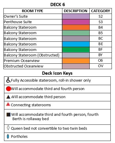 Pacific Princess Deck 6 plan keys