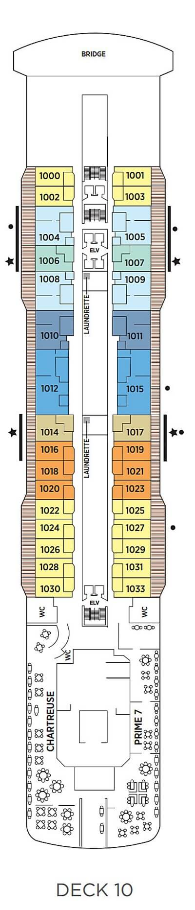 Seven Seas Explorer Deck 10 layout