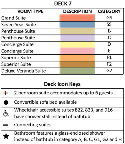 Seven Seas Splendor Deck 7 plan keys