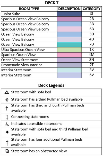 Adventure Of The Seas Deck 7 plan keys
