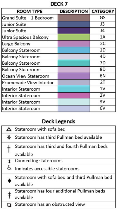 Allure Of The Seas Deck 7 plan keys