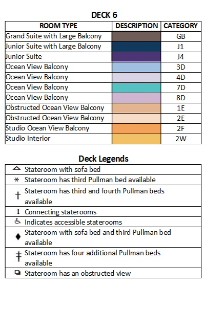 Anthem Of The Seas Deck 6 plan keys