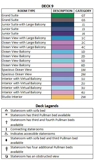 Anthem Of The Seas Deck 9 plan keys