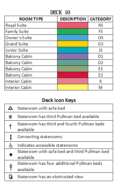 Brilliance Of The Seas Deck 10 plan keys