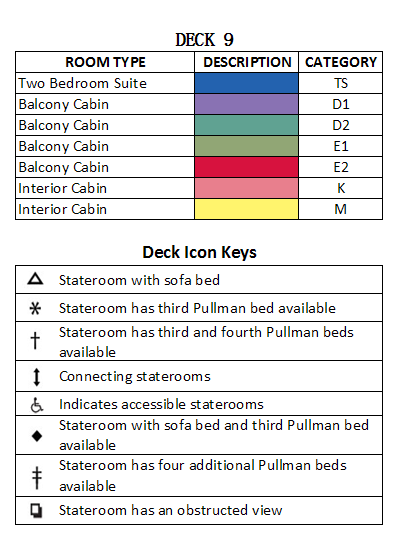 Brilliance Of The Seas Deck 9 plan keys