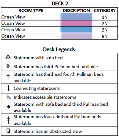 Explorer Of The Seas Deck 2 plan keys