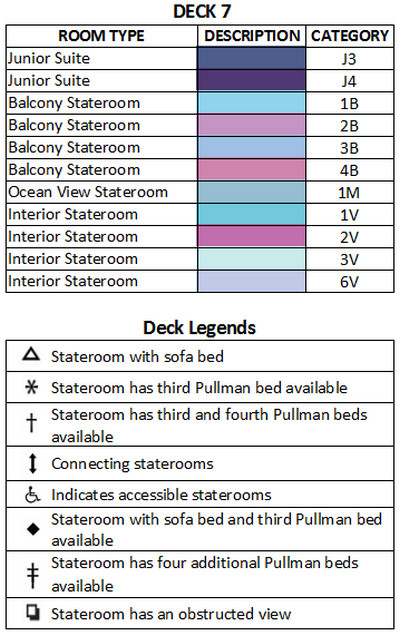 Grandeur Of The Seas Deck 7 plan keys