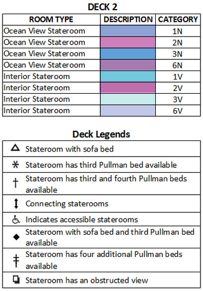 Grandeur Of The Seas Deck 2 plan keys